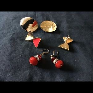 Three pairs of vintage and new earrings